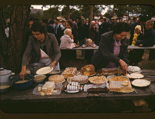 Cutting the pies and cakes at the barbeque dinner, Pie Town, New Mexico Fair, 1940 (LOC), originally uploaded by  the Library of Congress