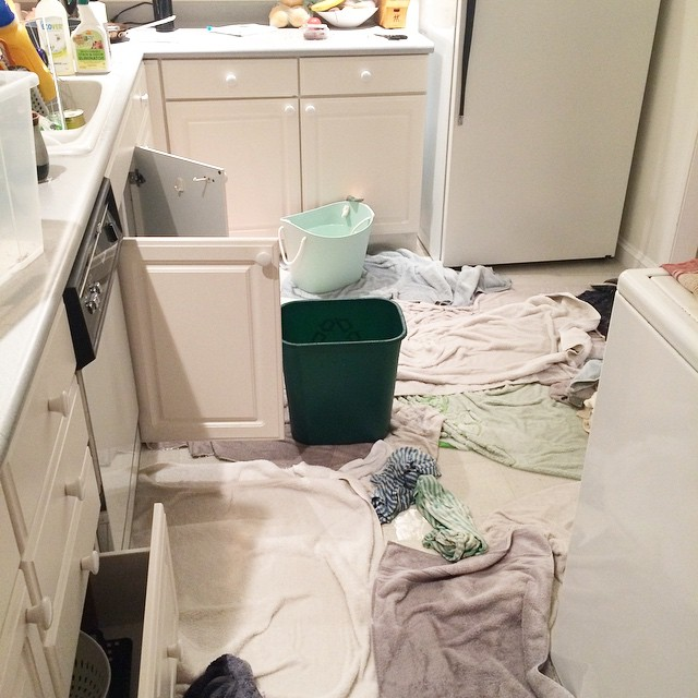 So. This happened. Hose to dishwasher broke flooding kitchen, dining and hallway and leaking into the flat below.