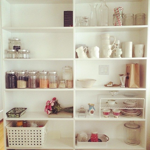 Slowly but surely the pantry is getting unpacked. Love that this home has one.