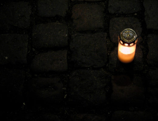 Candles on the street of Copenhagen Denmark